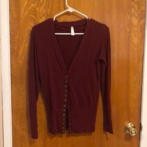 Color story burgundy cardigan